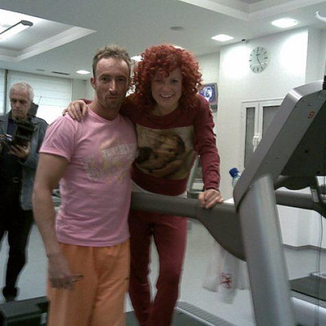 С Люси Дяковска по време на реклама на Rexona в The Gym, гр. София